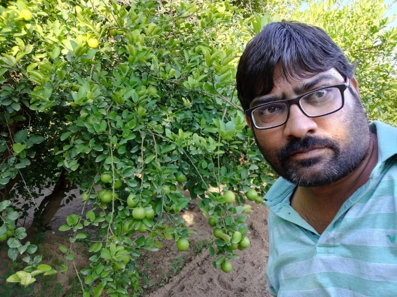 Farmer Abhishek Jain doing lemon farming